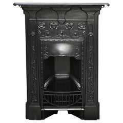 Reclaimed Edwardian Art Nouveau Cast Iron Bedroom Fireplace