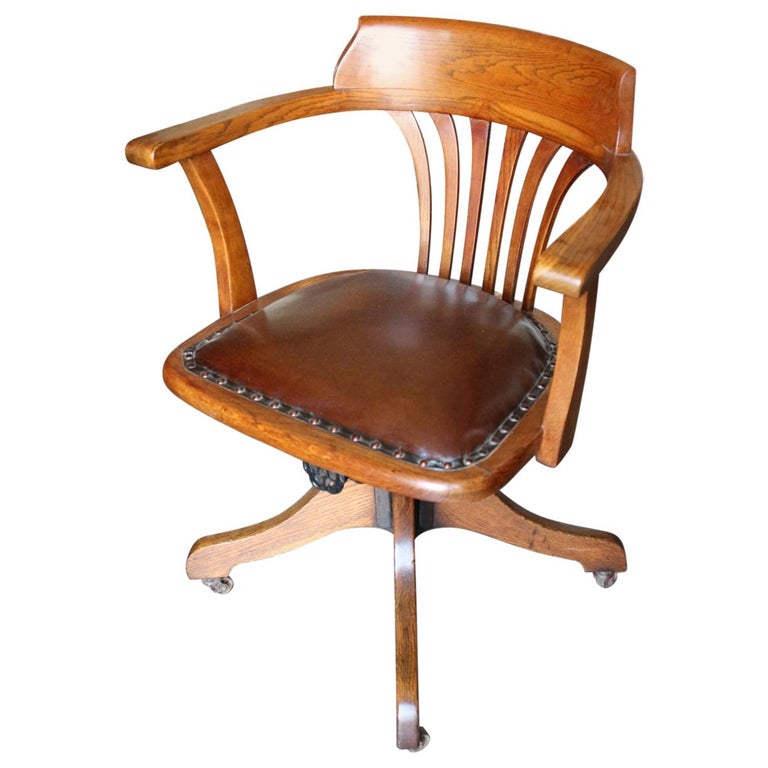19th Century Antique Oak Office Chair For Sale - 19th Century Antique Oak Office Chair At 1stdibs