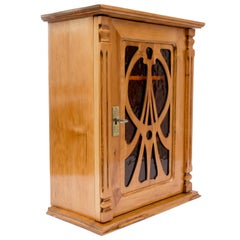 Late 19th Century Art Nouveau Plum-Wood Hanging Wall Cabinet