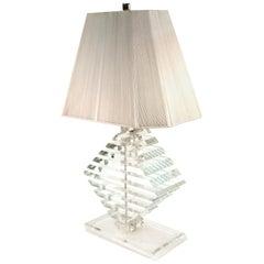 Karl Springer Style Hollywood Regency Stacked Lucite Table Lamp