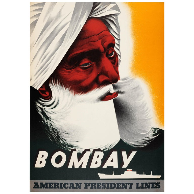 Original Vintage Cruise Ship Travel Poster Bombay India American President Lines For Sale