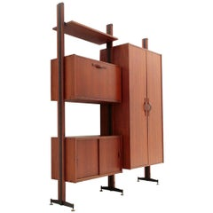 Italian Midcentury Wall Unit with Cabinet, 1960s