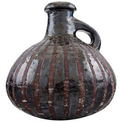 Gutte Eriksen Own Workshop, Pottery Pitcher, Metallic Glaze, Raku Burned