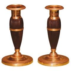Early 19th Century Bronze and Ormolu Bulbous Candlesticks