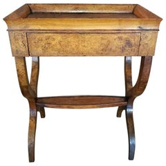 18th Century French Provincial Burl Walnut Lyre Work Table