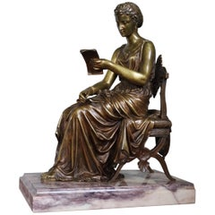 Antique Bronze Sculpture of Letter Reading Lady in Klismos Chair on Marble Base