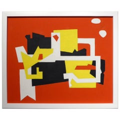 """Two White Clouds"" an Abstract Oil on Canvas in the Manner of Stuart Davis"