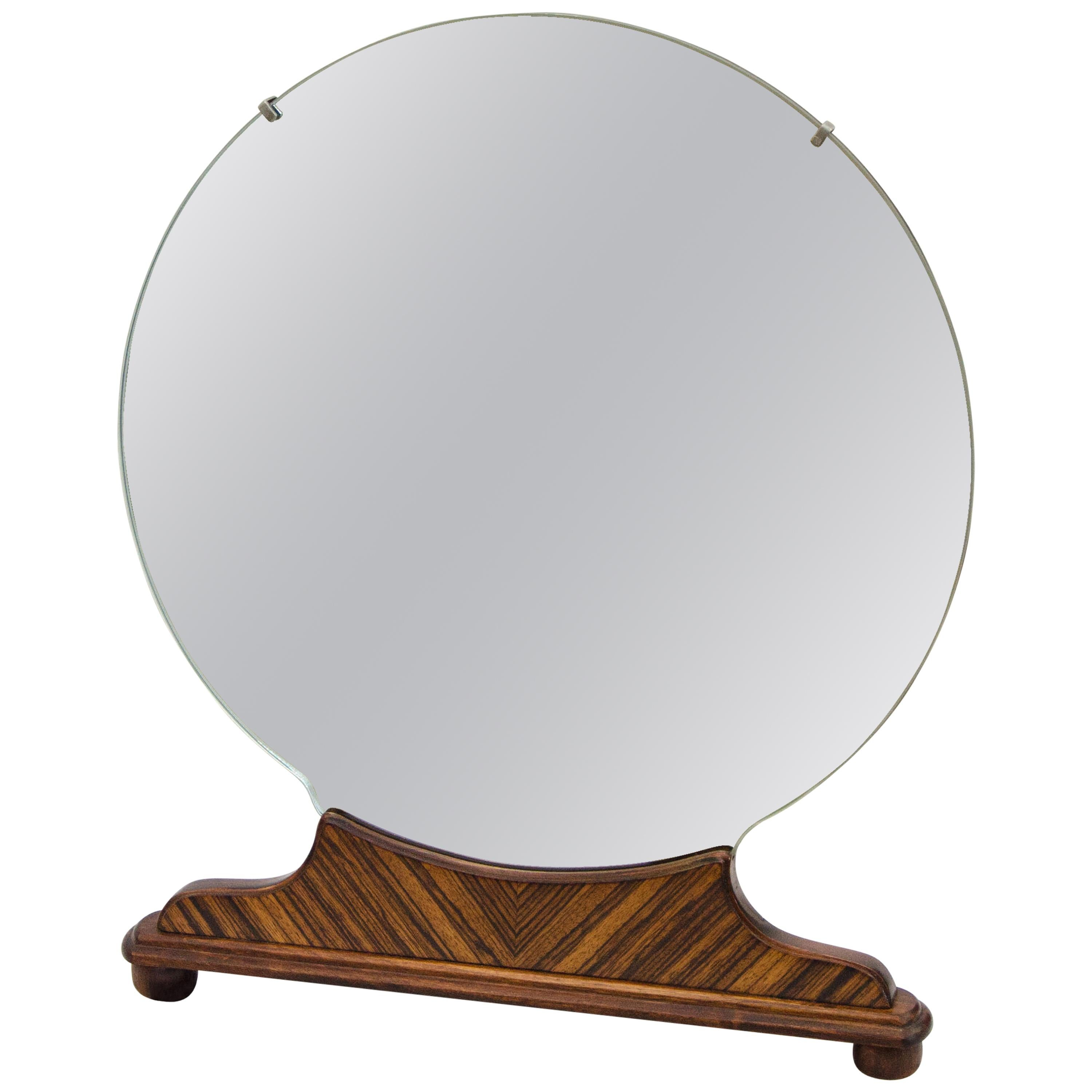 Art Deco Round Walnut Freestanding High-Boy Dresser Mirror