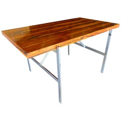 Rosewood and Chromed Steel Writing Table by Milo Baughman for Thayer Coggin