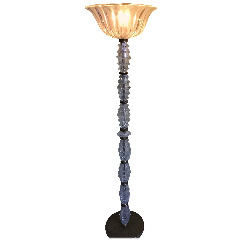 Barovier e Toso Floor Lamp Murano Glass Brass, 1940