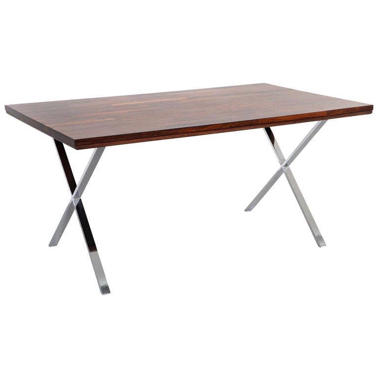Milo Baughman Rosewood and Chrome Campaign Desk For Sale