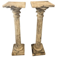Pair Neoclassical Alabaster Pedestals Grey/White/Black Vein Flevr Dis Lis Tops