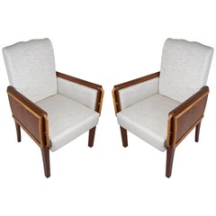 Pair of Teak and Satinwood Mid-Century Modern Armchairs