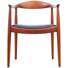 """Set of two Scandinavian Armchairs """"The Chair"""" in Solid Teak by Hans Wegner"""