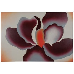Large Midcentury Abstract Modern Floral Painting of Orchid, Oil on Canvas