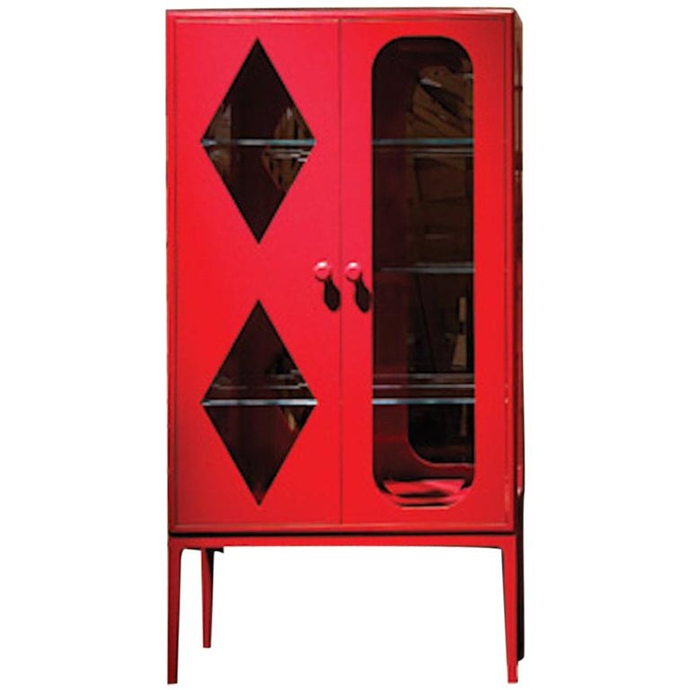 Established & Sons Tudor Two-Door Cabinet in Red by Jaime Hayon For Sale