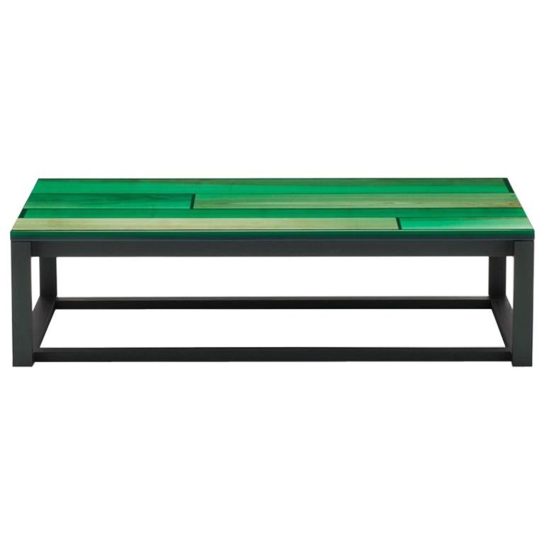 Iro Low Table in Green Stained Ash and Ocean Green by Jo Nagasaka For Sale