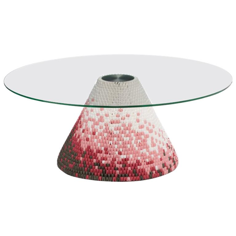 Established & Sons Zipzi in Warm Hues Pattern 3 with Glass Top by Michael Young For Sale