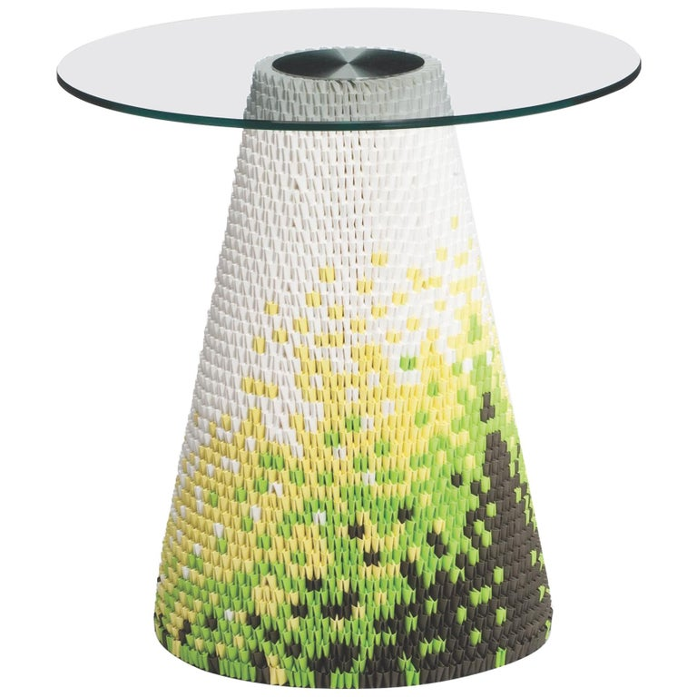 Established & Sons Zipzi in Fresh Hues Pattern One with Glass Top, Michael Young For Sale
