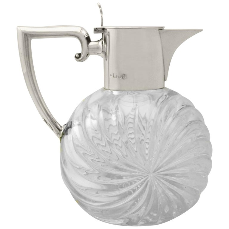 Victorian Cut Glass and Sterling Silver Mounted Claret Jug For Sale