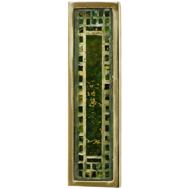 Pepe Mendoza Brass and Inlaid Stone Door Handle For Sale