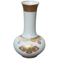 Finzi Porcelain Vase Gold 24- Karat Italian Design Mid-Century Modern White 1950