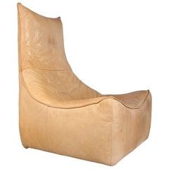 Gerard Van Den Berg Modern Brutalist Rock Chair in Cognac Leather, 1970s Montis