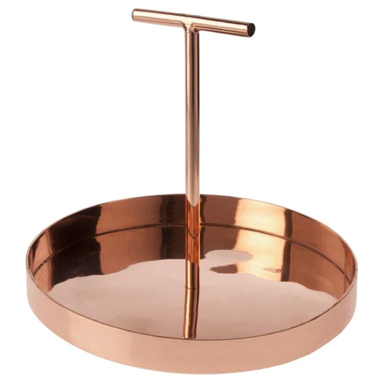 Phil Circular Tray in Copper-Plated Metal with a T-Shape Handle by Bijou Jain For Sale