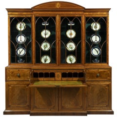 Mahogany and Satinwood Inlaid 18th Century Breakfront Secretaire Bookcase