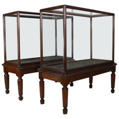 Pair of Mahogany Museum Glazed Display Cabinets from the V and A Museum, London
