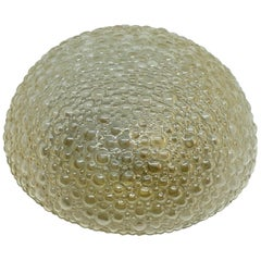 Amber Bubble Glass Limburg Flush Mount Ceiling Light Fixture, 1960s