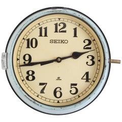Seiko Ship's Clock in Green Metal Case, 1970s