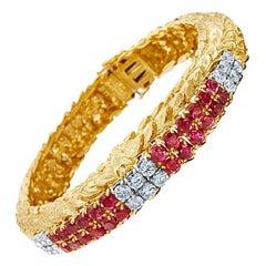 David Webb  Ruby Diamond 18 Karat Yellow Gold Platinum Bracelet