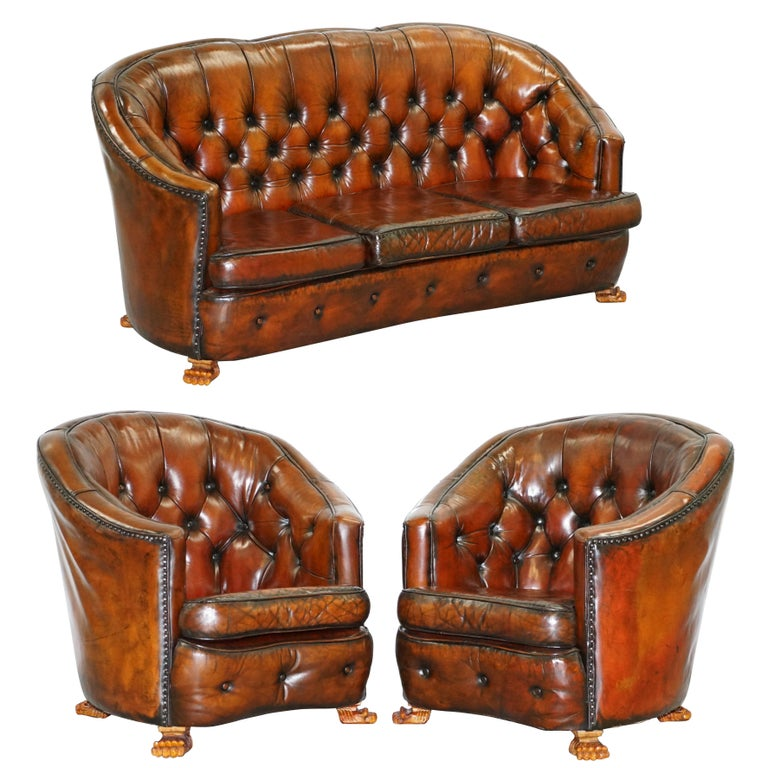 Curved Yellow Leather Sofa: Brown Leather Curved Back Chesterfield Suite Sofa