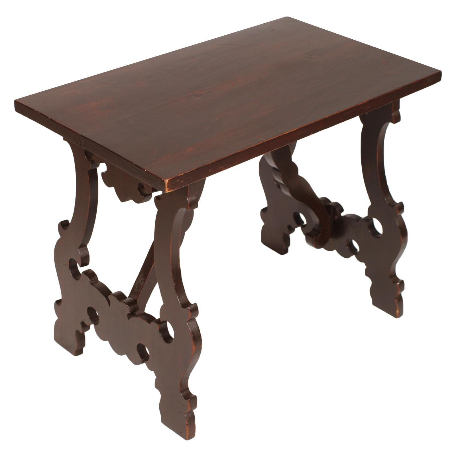 18th Century Renaissance Florentine 'Fratino' Coffee Side Table Lyre Legs Walnut