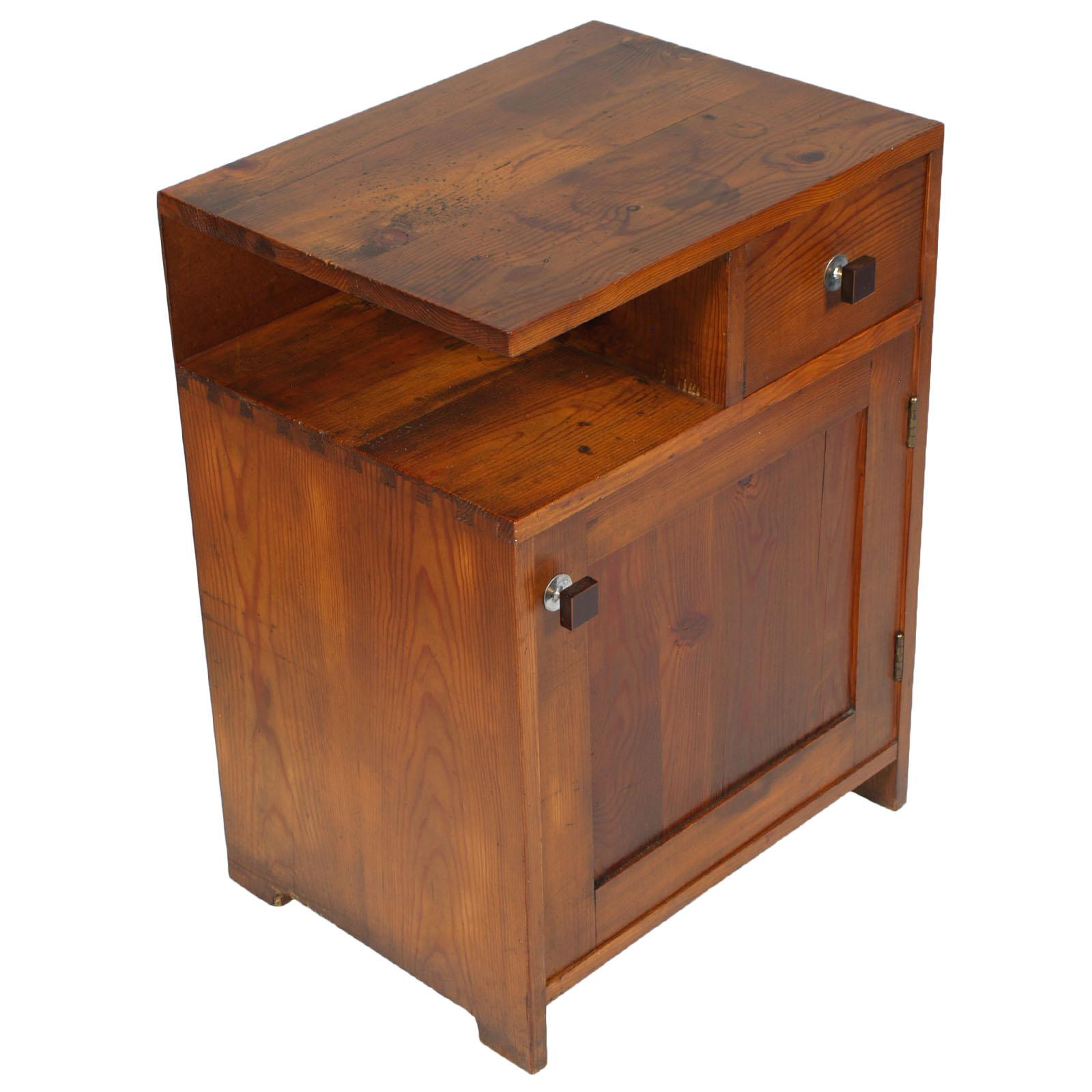 1920s Tyrolean Nightstand Art Deco in Larch,  Wax Polished