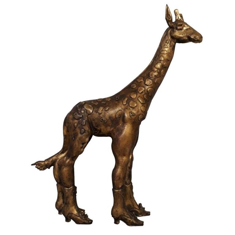 Pedro Friedeberg Giraffe Metal Sculpture For Sale