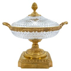 French Mid-19th Century Louis XVI Style Baccarat Crystal and Ormolu Centrepiece
