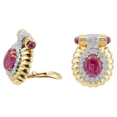 David Webb Ruby Diamond 18 Karat Yellow Gold Platinum Earrings