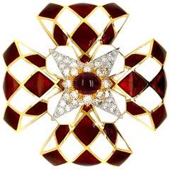 David Webb Ruby, Diamond and Enamel Heraldic Harlequin Brooch
