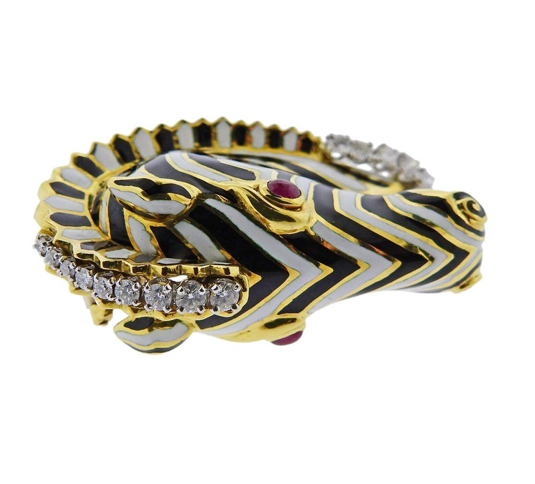 David Webb Ruby Diamond Enamel Gold Zebra Brooch Pin For Sale 3