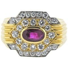 David Webb Ruby Diamond Platinum Gold Ring