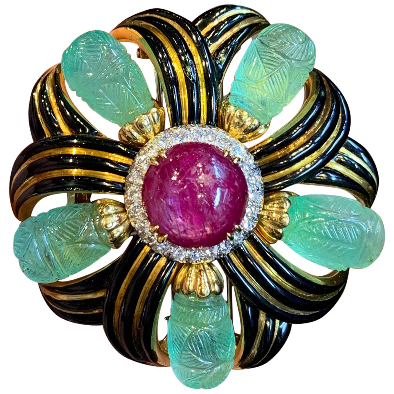 David Webb Ruby, Emerald and Diamond Pinwheel Flower Brooch
