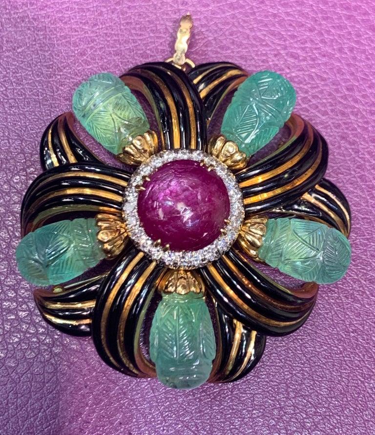 Cabochon David Webb Ruby, Emerald and Diamond Pinwheel Flower Brooch For Sale