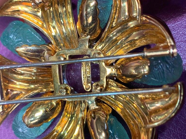 David Webb Ruby, Emerald and Diamond Pinwheel Flower Brooch For Sale 1