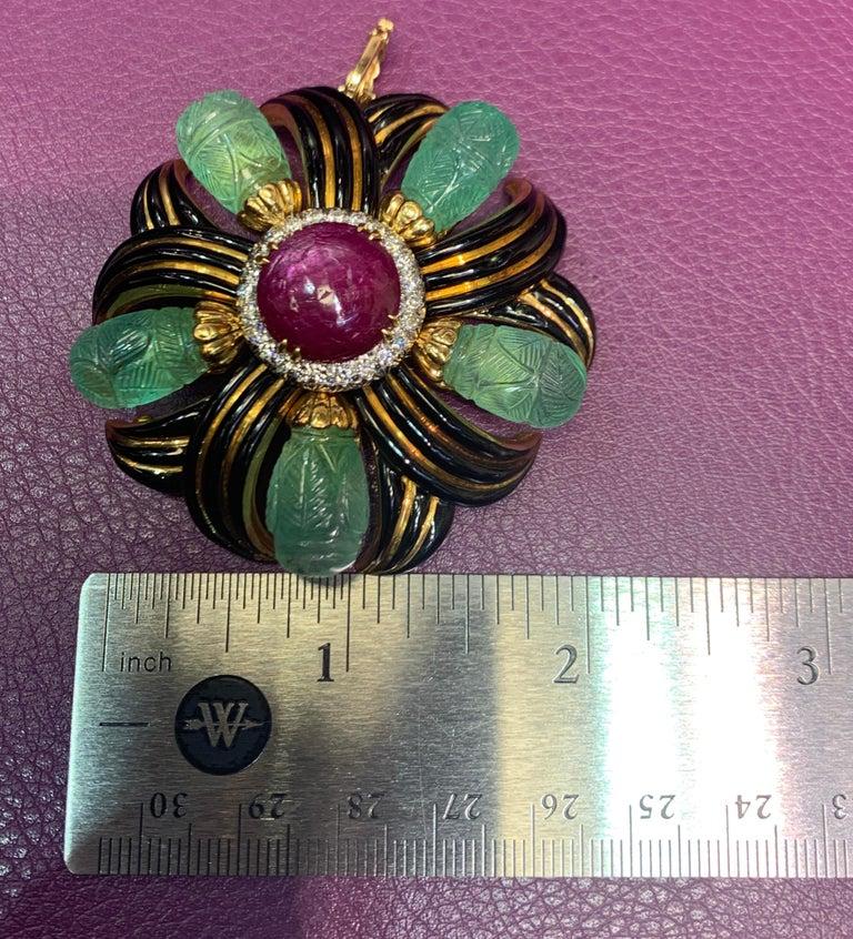 David Webb Ruby, Emerald and Diamond Pinwheel Flower Brooch For Sale 2