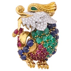 David Webb Ruby Emerald Sapphire Diamond Gold Dragon Pin