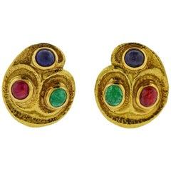 David Webb Ruby Emerald Sapphire Gold Earrings