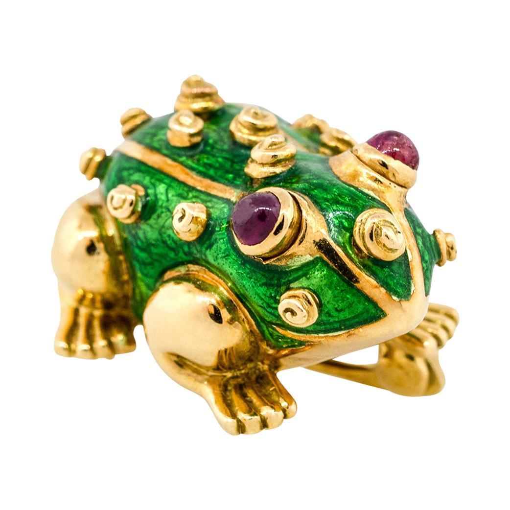 David Webb Ruby Enamel Frog Pin 18 Karat in Stock