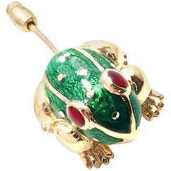 David Webb Ruby Enamel Lucky Frog Yellow Gold Stick Pin Brooch